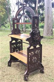 Sale 8579 - Lot 55 - An industrial cast iron and timber garden shelves/ potting bench with some surface rust, H 140 x 73cm