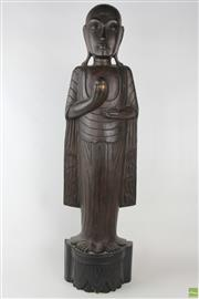 Sale 8570 - Lot 1051 - Large Carved Timber Figure of a Buddhist Priest (100)