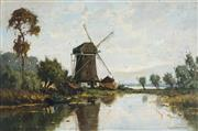 Sale 8838A - Lot 5100 - H Groeneweyen - Country scene with Mill by the lake 38.5 x 58.5cm