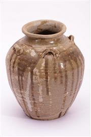 Sale 9015C - Lot 755 - Small earthenware brown drip glazed vessel with lugs (H21.5cm)