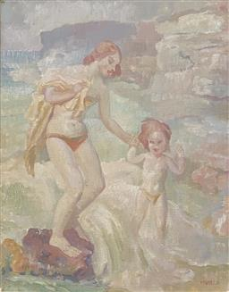 Sale 9123J - Lot 23 - Arthur Murch At the Beach oil on board, 50x39cm signed lower right.