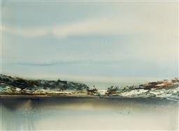 Sale 9133 - Lot 518 - Geoffrey Dyer (1947 - 2020) Shallow Water, Binnalong Bay II watercolour 54.5 x 74 cm (frame: 77 x 96 x 2 cm) signed lower right