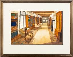 Sale 9245J - Lot 62 - Jim Keller - A Castle Library, Loire France watercolour 38 x 58cm, framed 65 x 84cm