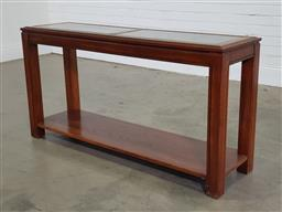 Sale 9191 - Lot 1017 - Hall table with glass insert top (h71 x w140 x d41cm)