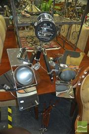 Sale 8331 - Lot 1019 - Two Theatre Style Table Lamps on Tripod Stand & Similar Example without Stand (3)