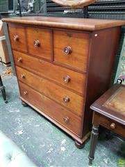 Sale 8559 - Lot 1026 - Late 19th Century Cedar Chest of Drawers, with three short & four long drawers, raised on turned feet (one foot loose)