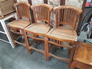 Sale 8676 - Lot 1127 - Set of Three Timber Barstools