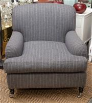 Sale 8709 - Lot 1001 - A pair of oversized  pinstripe grey woollen upholstered easy chairs on turned legs to castors, height of back 85cm, Width x depth 95cm