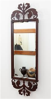 Sale 8902H - Lot 33 - A patinated metal framed bevelled edge mirror with acanthus top and base, Height 82cm x Width 28cm