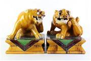 Sale 8989 - Lot 67 - Pair Of Tang Style Sancai Temple Lions (34cm x 29cm x 29cm)