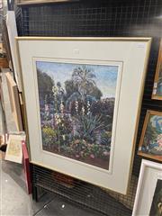 Sale 8995 - Lot 2012 - J Patches Hollihocks at Dusk oil stick , 94 x 79cm signed