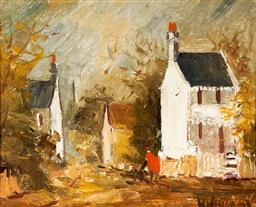 Sale 9116 - Lot 502 - Wilmotte Williams (1916 - 1992) Paddington Terrace Houses oil on canvas on board 18.5 x 23.5 cm (frame: 29 x 34 x 3 cm) signed lower...