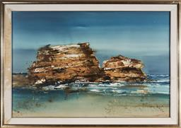 Sale 9133 - Lot 531 - Geoffrey Dyer (1947 - 2020) Hortsea Port Bluff mixed media on paper, (AF - foxing, water damage to frame) 99.5 x 150 cm (frame: 121 ...