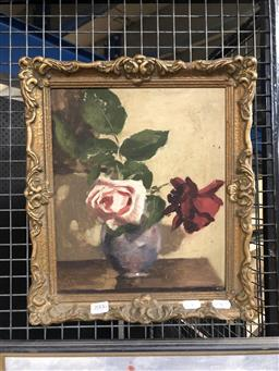 Sale 9139 - Lot 2006 - Lincoln B. Hamilton Still Life, oil on board, frame: 36 x 31 cm, signed lower right