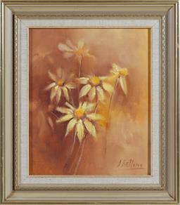 Sale 9155H - Lot 9 - J Bellamy, oil on board, flowers, in gilt frame, 29.5cm x 24cm