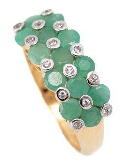 Sale 9213 - Lot 304 - A SILVER GILT EMERALD AND STONE SET RING; set across the top with round cut emeralds and collet set white round cut topaz, width 7.7...