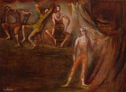 Sale 9252A - Lot 5059 - JESSICA WHITMONT Dancing Studio oil on board 42 x 58 cm (frame: 50 x 66 x 3 cm) signed lower left
