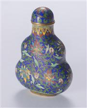 Sale 8376A - Lot 78 - A fine Chinese Cloissone Snuff bottle, of tapered form with traditional double gourd motif and fitted with an ivory scoop, Ht: 6.6cm...