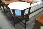 Sale 8390 - Lot 1051 - Antique Style Oriental Occasional Table with octagonal marble top and English floral tiles.