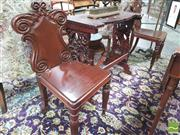 Sale 8428 - Lot 1005 - William IV Mahogany Pair of Carved Back Hall Chairs, with scroll and leaf carved backs & turned legs