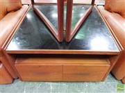 Sale 8451 - Lot 1010 - Teak Square Form Coffee table with Fitted Drawers