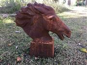 Sale 8579 - Lot 57 - A cast iron horse head bust with surface rust, H 44 x W 45cm