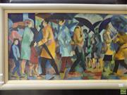 Sale 8557 - Lot 2031 - J. Fitzpatrick - Rush Hour, 1988 46.5 x 86.5cm