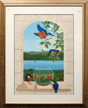 Sale 8604 - Lot 2024 - Anna Garland - Kingfisher & Goldfish Gouache ( 73.5 x 54.5 ) Signed Lower Right