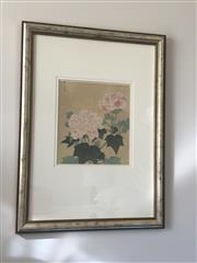 Sale 8782A - Lot 158 - An oriental print of peonies. Frame size 84 x82cm.