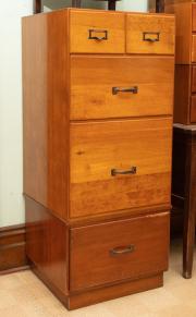 Sale 8795A - Lot 83 - An oak five drawer filing cabinet, H 130 x W 55 x D 54cm