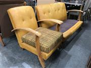 Sale 8817 - Lot 1061 - Art Deco Armchair with Beech Frame and 3 Seater
