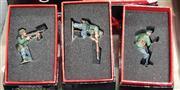 Sale 8817C - Lot 583 - K&C Wehrmacht Figures (3); Kneeling Rifleman, Kneeling with Schmeisser with Lying Dead German Officer