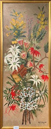 Sale 9041 - Lot 2002 - Pat Boyd Australian Wildflowers oil on board 65 x 27cm (frame) signed