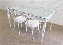 Sale 9121 - Lot 1092 - Ornate metal framed 5 piece outdoor suite (h:74 w:77 d:142cm)