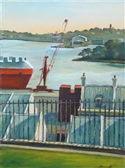 Sale 8565 - Lot 508 - Jane Bennett (1960 - ) - Darling Harbour Dockyards from Observatory Hill 41 x 30.5cm