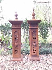 Sale 8600A - Lot 12 - Pair of decorative cast iron gate posts, H 158cm.