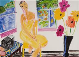 Sale 9141 - Lot 513 - Ken Done (1940 - ) Women in Yellow Dress & Interior Scene acrylic on paper 48 x 69.5 cm (frame: 72 x 95 x 3 cm) signed lower right