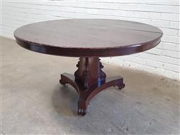Sale 9129 - Lot 1022 - Round timber dining table on pedestal base (h74 x d135cm)