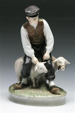 Sale 9144 - Lot 1 - Royal Copenhagen Figure Boy with Sheep (H: 20cm)