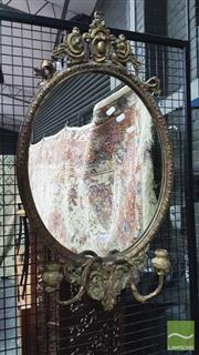 Sale 8375 - Lot 1019 - Gilt Gesso Mirror, with two sconces
