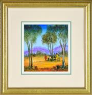 Sale 8401 - Lot 534 - Kevin Charles (Pro) Hart (1928 - 2006) - Afternoon Tea in the Scrub 20 x 20cm