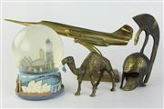 Sale 8429 - Lot 35 - Brass Desktop Fighter Jet Together With A Sydney Harbour Snowglobe And Two Brass Figures