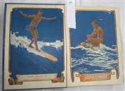 Sale 8431B - Lot 44 - The Boy's Own Annual 1922 (Vol 45). Inside front cover shows Surfriding in Fiji, plus turtle riding in Souths Seas