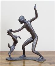 Sale 8489A - Lot 33 - Guy Boyd - Bronze Study Girl & Dog