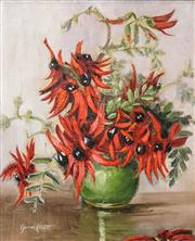Sale 8519 - Lot 597 - Muriel Elliot (20th Century) - Sturts Desert Pea 29.5 x 24.5cm