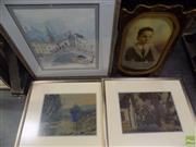 Sale 8557 - Lot 2058 - 4 Framed Artworks: 3 Watercolours & a Vintage Photograph