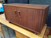 Sale 8607 - Lot 1073 - Small Teak Record Cabinet with Two Doors