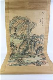 Sale 8766 - Lot 66 - Chinese Scroll Scholar In Mountain Scene