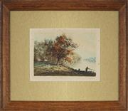 Sale 8824 - Lot 2087 - Rene Ligeron (1880 - 1947) - Two Anglers etching, 14.5 x 21.5cm, signed lower right -