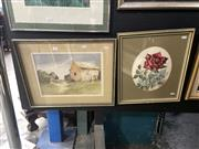 Sale 8895 - Lot 2003 - Helen Hudson ad Margaret Wills, Red Rose and Country Cottage, framed watercolour paintings, each signed lower